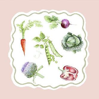 LIMITED EDITION Pink 'Kitchen Garden' Vegetable Collection (40cm x 40cm)