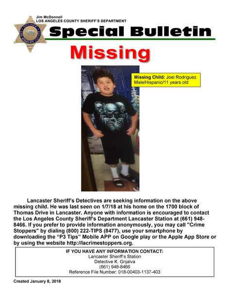 Critically Missing Child, Male Hispanic 11 Years old, Joel Rodriguez out of Lancaster area.