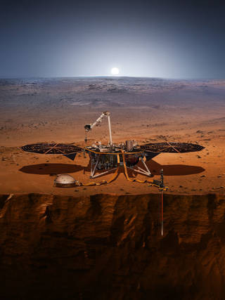 This image is an artist's impression of NASA's InSight lander on Mars. InSight will look for tectonic activity and meteorite impacts.  An artist's impression of the InSight lander on Mars.