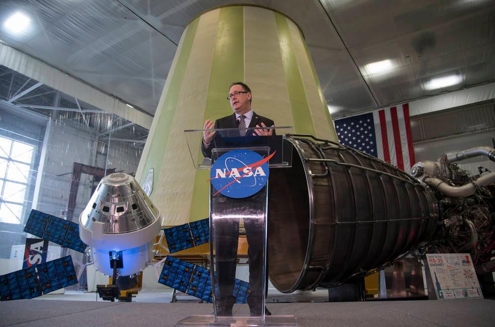 Acting NASA Administrator Robert Lightfoot discusses the fiscal year 2019 budget proposal during a State of NASA address Monday, Feb. 12, 2018 at NASA's Marshall Space Flight Center in Huntsville, Alabama. Credits: NASA/Bill Ingalls