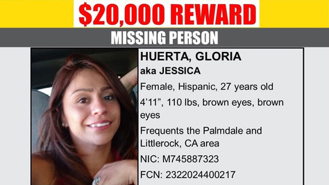$20K Reward Offered For Information About Missing Palmdale Woman Gloria Huerta.