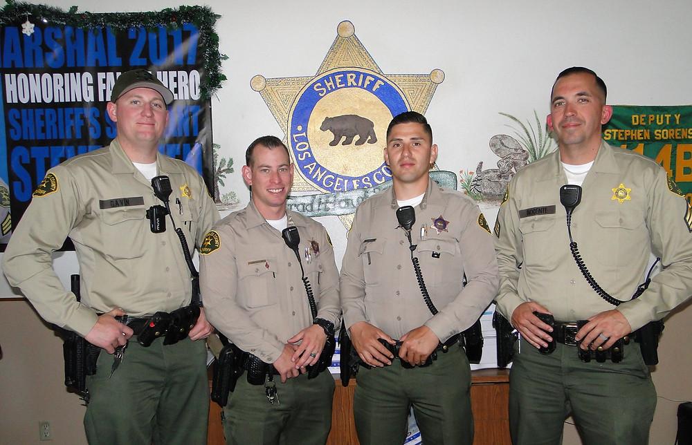 Pictured are Deputy Sean Gavin, Deputy Samuel Goldstein, Deputy Jesus Chamorro and Sgt. Thomas Inocente