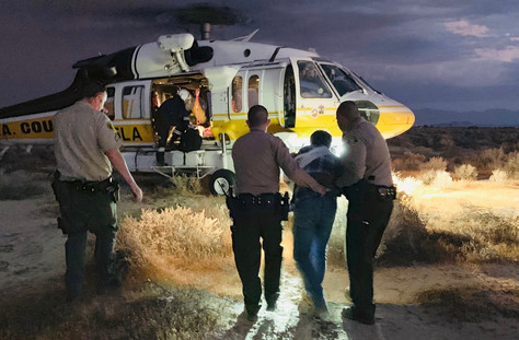 Lancaster Sheriff's Station Deputies rescued a man in Lake Los Angeles.