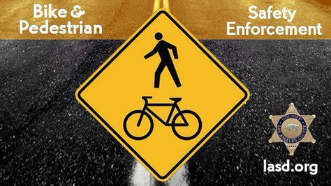 Sheriff's Department will conduct a bicycle and pedestrian safety operation on May 4th, 2021.