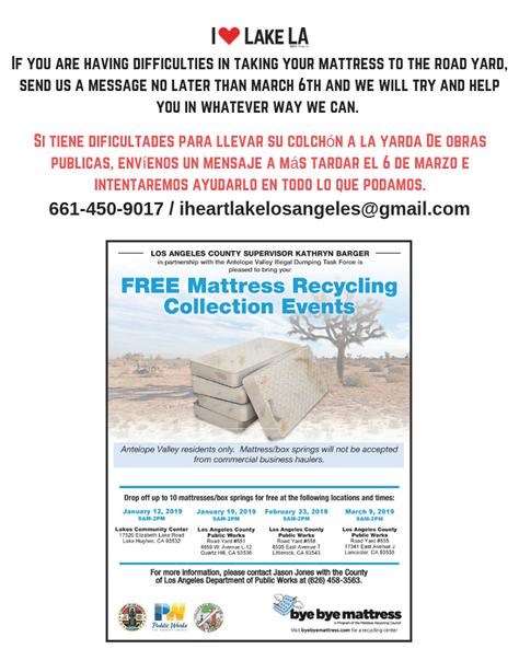 Bye Bye Mattress Recycle Event