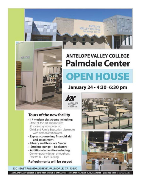 Antelope Valley College Palmdale Center Will Have An Open House On January 24th.