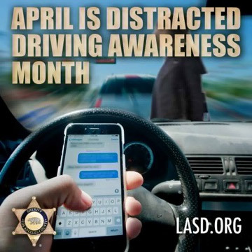 April is Distracted Driving Awareness Month,LASDchallenges drivers to 'silence' the distractio