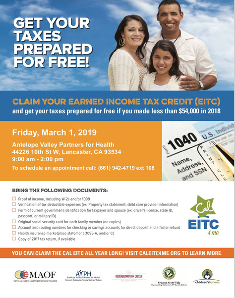 Antelope Valley Partners For Health, (AVPH) Partners With VITA To Prepare Taxes For Free To Those Wh