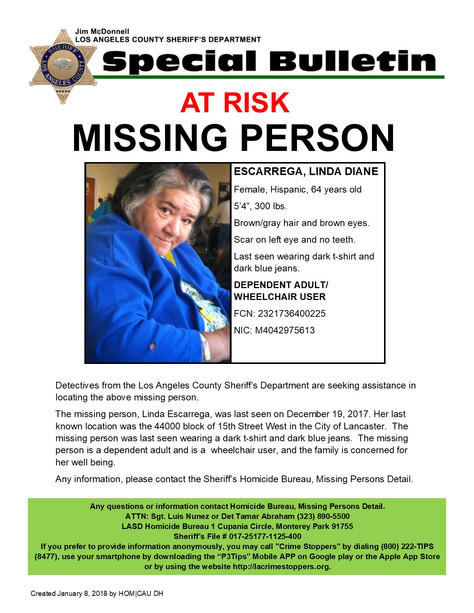LASD Seeking the Public's Help in Locating, Linda Diane Escarrega, an At-Risk Missing Person from La