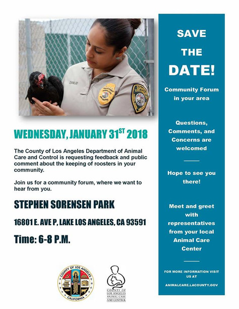 The County of Los Angeles Department of Animal Care and Control is requesting feedback and public co