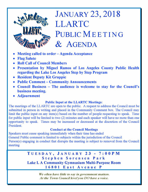 Lake Los Angeles Rural Town Council, Invites You To Their First 2018 Meeting.