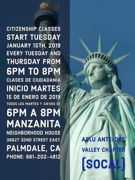 The ACLU of Southern California, Antelope Valley Chapter Is Offering Free Citizenship Classes,  Star