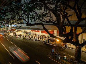 Commuters lining up for jeepneys. Makati City Philippines