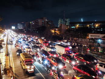 Traffic along C5, BGC, Philippines
