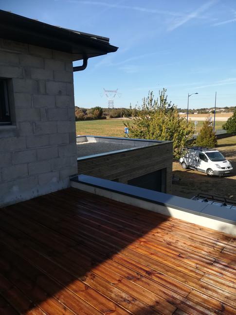 Toit terrasse bois avec couvertines étanchéité