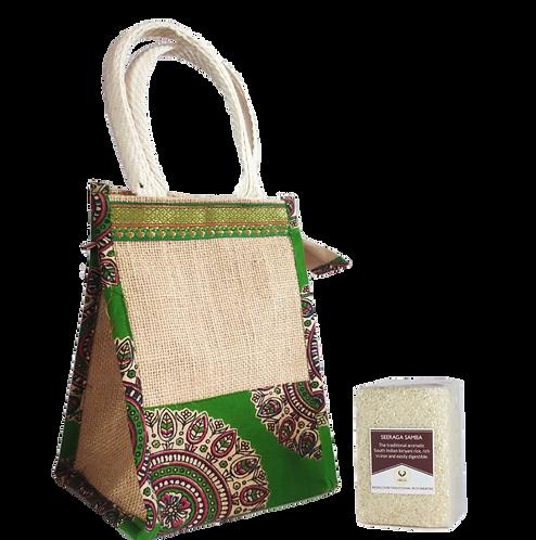 Traditional Rice Gift Bag - Jute Bag + Seeraga Samba (230gm)