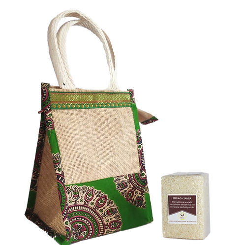Traditional Rice Gift Bag - Bag + Seeraga Samba (230gm) + Mappillai Samba(230gm)