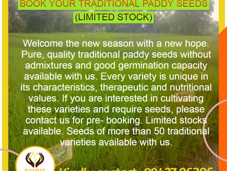 Book your traditional paddy seeds. (Hurry Up - Limited Stock Only)