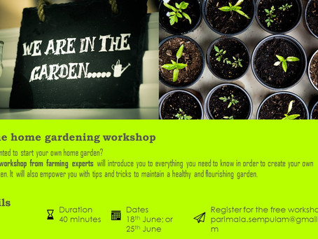 Online Home Gardening Free Workshop. June 2020.