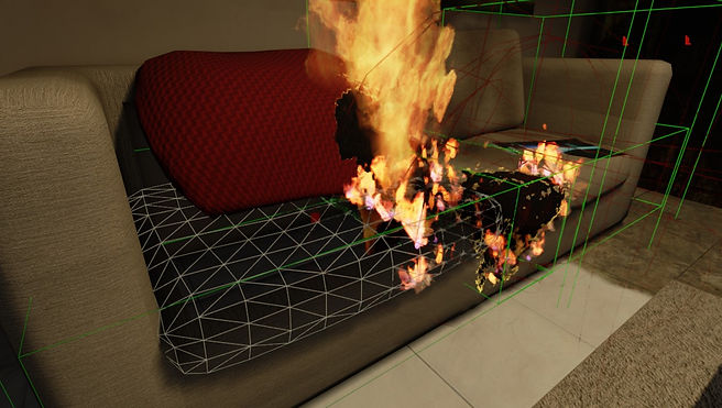 The wireframe of the mesh. Each vertex is a propagation point for fire.