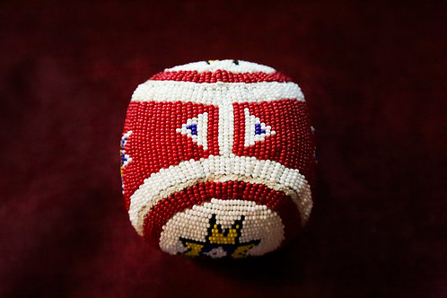 "Beaded ""Toss The Ball"" Female Ceremonial Ball w/ Buffalo Hair Stuffing"