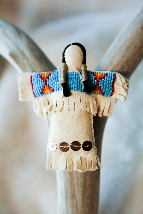 Beaded Doll w/ Shell Feet Pendant