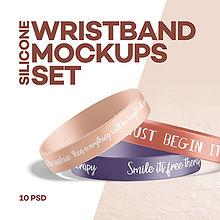 Silicone Wristband Mockups Set