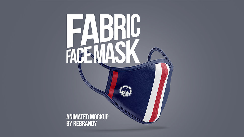 Fabric Face Mask Animated Mockup - Extended