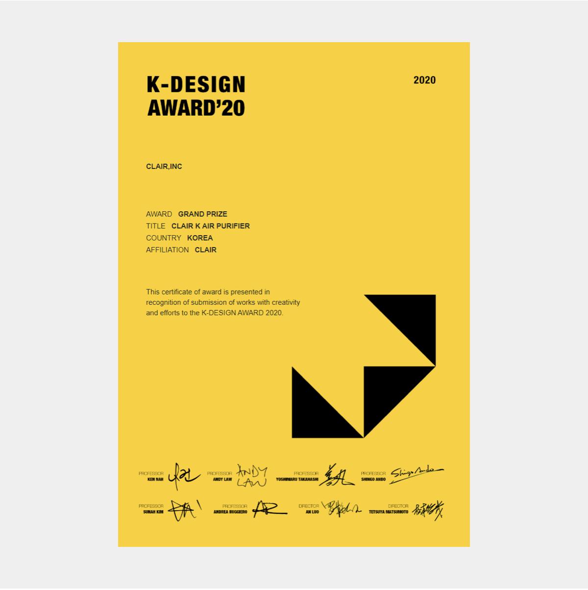 Grand prize 2020 K-Design award