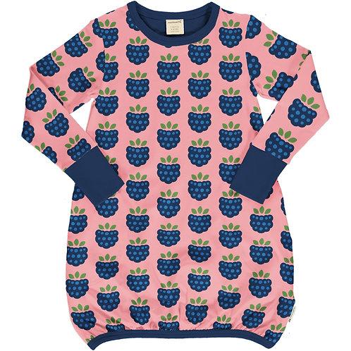 Maxomorra Balloon LS Dress Blackberry Print