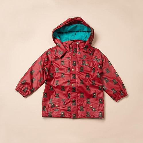 Little Green Radical Raincoat Red Bear Print