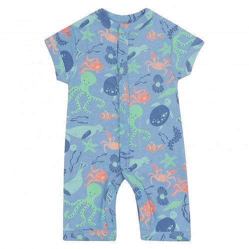 Piccalilly Organic Sea Print Short Sleeve Romper