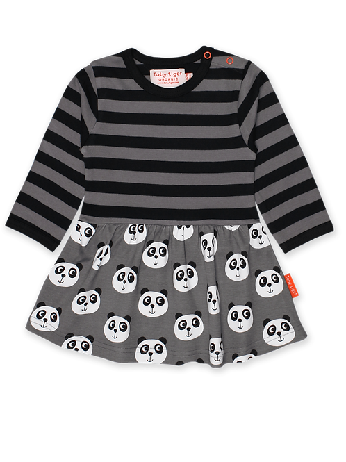Toby Tiger Organic Panda Long Sleeve Twirl Dress