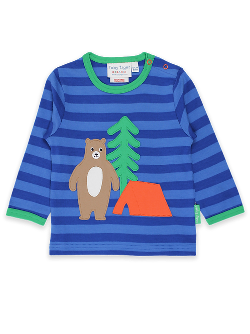 Organic Camping Bear Applique T-Shirt