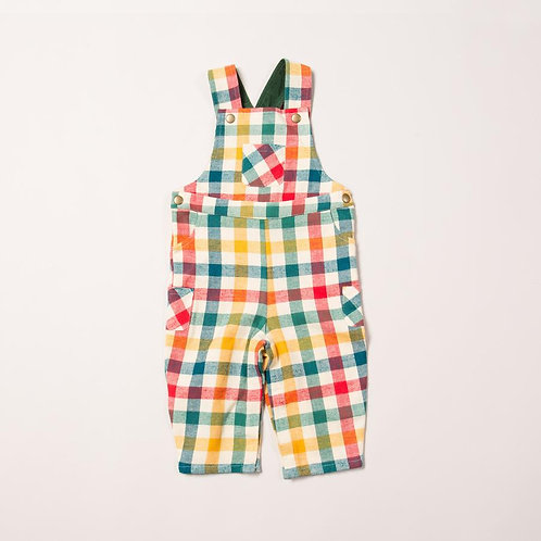 Little Green Radicals Rainbow Check Dungarees