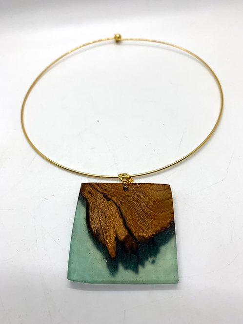 Wood and Epoxy Pendant Necklace Hoop