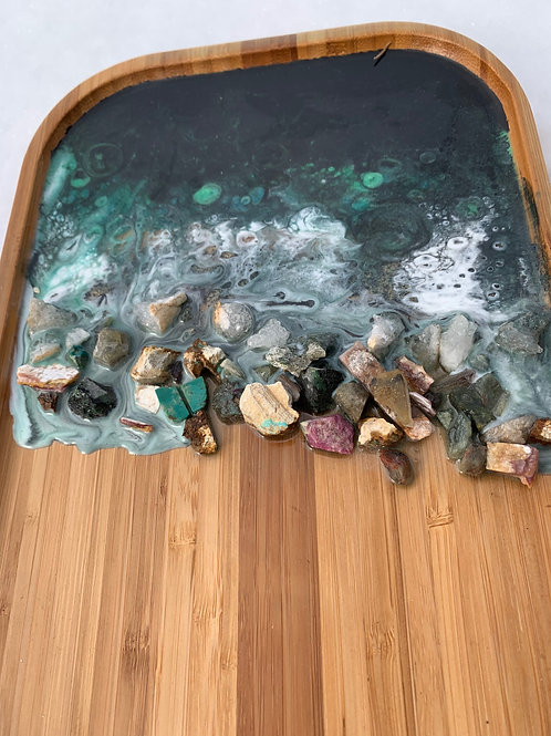 Resin and Gemstone wooden tray and matching bowl