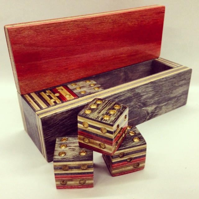 Instagram - Built this one of a kind dice set from old recycled skateboards! Wha