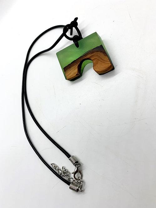 "Wood and Epoxy Pendant Necklace 18"""