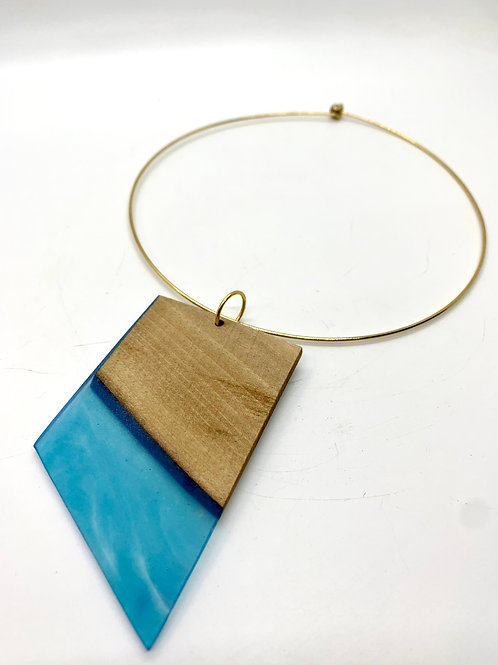 Wood and Resin Necklace -HOOP