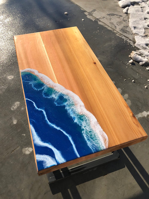 Ocean wave cedar coffee table