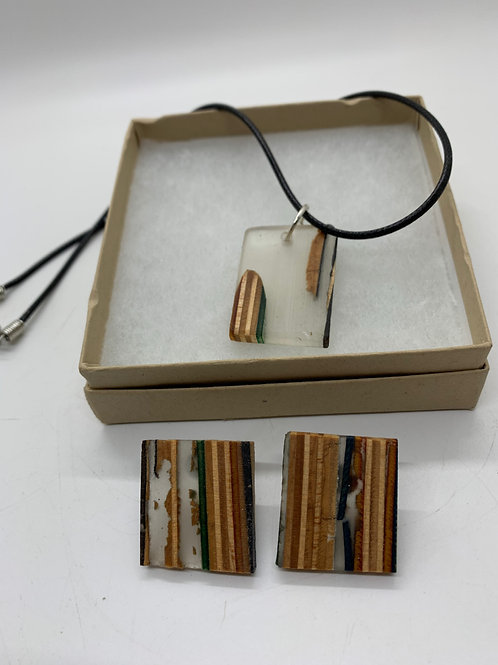 """Skateboard Pendant Necklace and Earrings 18"""""""