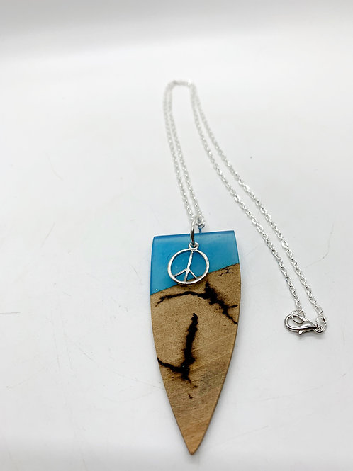 """Wood and Resin Pendant Necklace with Peace Sign  22"""""""