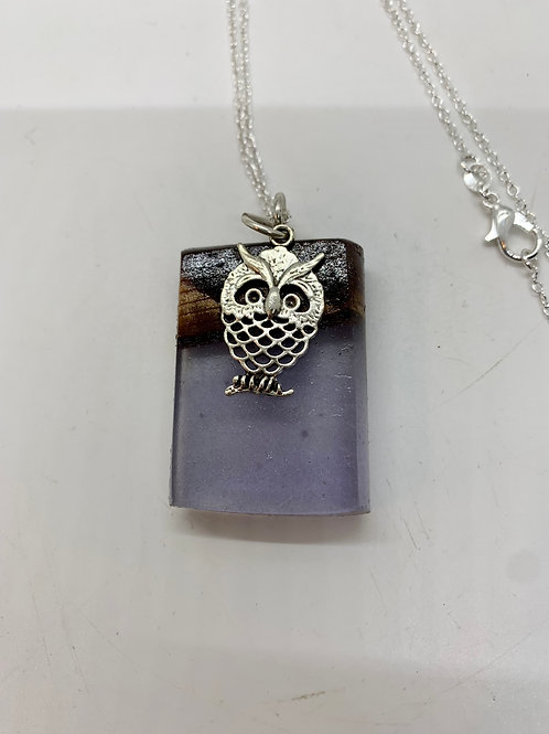 Wood and Resin Necklace with silver Owl pendant