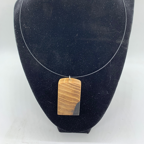 Resin and Wood Pendant Hooped Necklace
