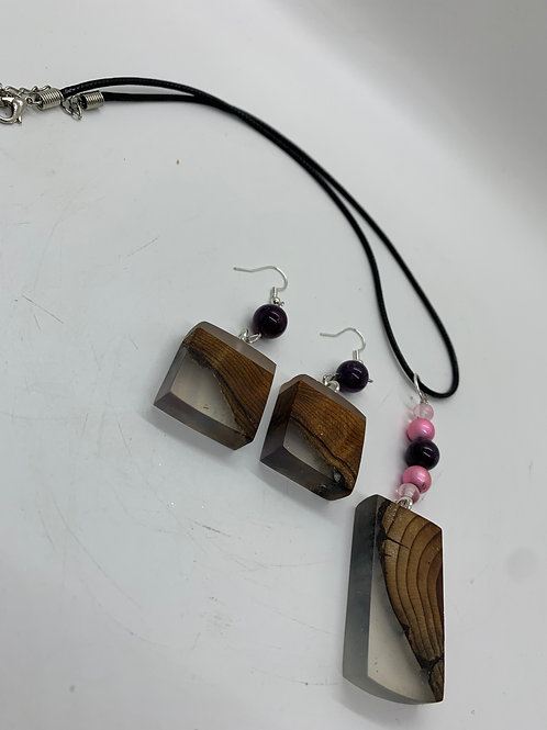 Wood/Resin Necklace and Earrings