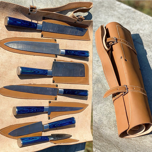 Damascus knife set with leather carrying case
