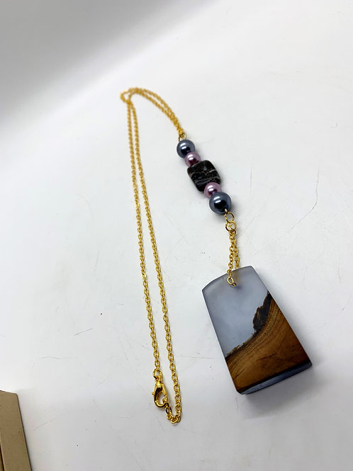 """Wood and Epoxy Pendant Necklace with Beads 28"""""""