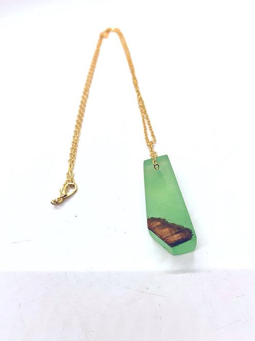 Wood and Epoxy Pendant Necklace 24""