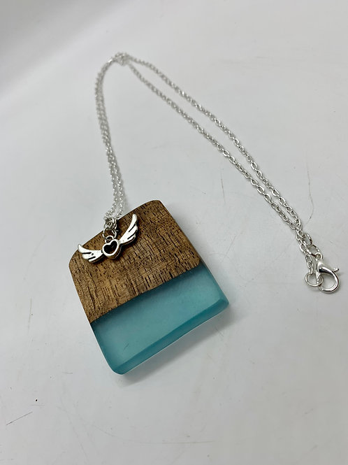 Wood and Epoxy Pendant Necklace with angel wings pendant 24